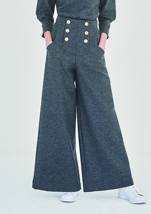 MELTON JERSEY WIDE PANTS