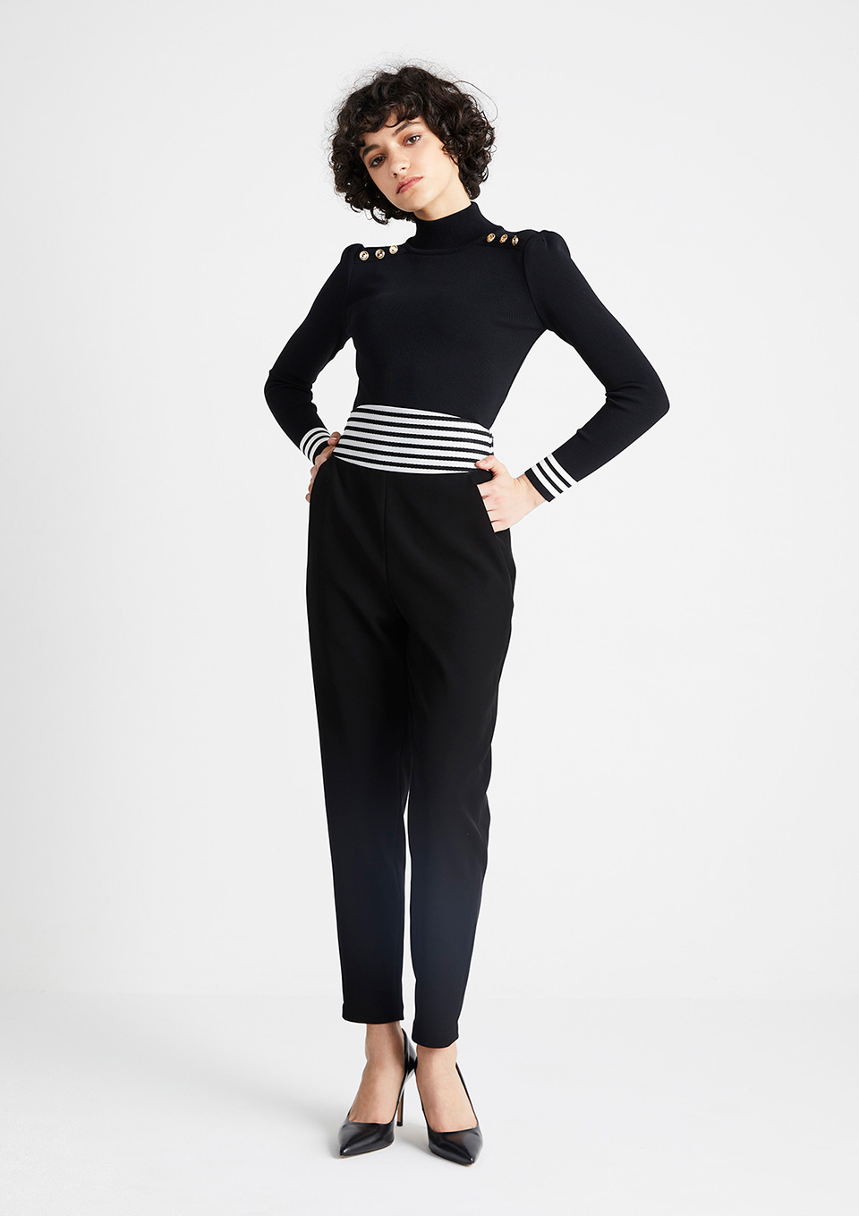 HIGH-WAIST TWILL PANTS